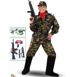 VESTITO COSTUME Maschera di CARNEVALE bambino - Soldato MILITARE  ragazzi