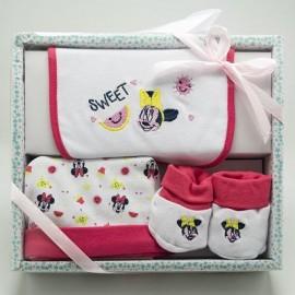 Disney Minnie Set regalo composto da 3 pezzi: bavetta, scarpette, cappellino