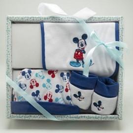 Disney Mickey Set regalo  prima infanzia composto da 3 pezzi: bavetta, scarpette, cappellino