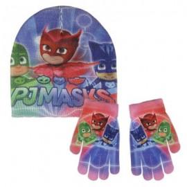 Set inverno PJ Masks, Guanti e Cappello Bambini Unisex, Blu