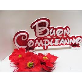 Scritta in Polistirolo Buon Compleanno Glitterato  Cm 50x23