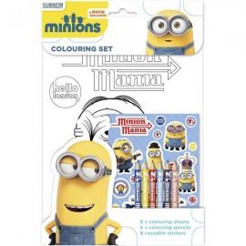 Minions Set da Colorare Colori Stickers Attacca e Stacca Cattivissimo Me