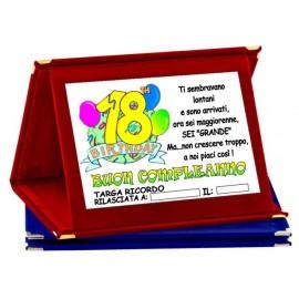 TARGA METALLO 18 ANNI COMPLEANNO AUGURI HAPPY BIRTHDAY