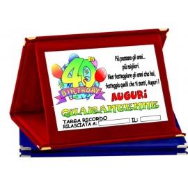 TARGA METALLO 40 ANNI COMPLEANNO AUGURI HAPPY BIRTHDAY