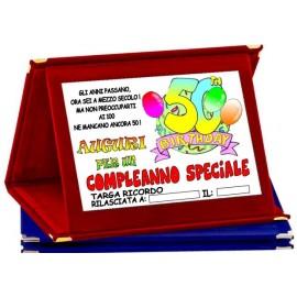 TARGA METALLO 50 ANNI COMPLEANNO AUGURI HAPPY BIRTHDAY