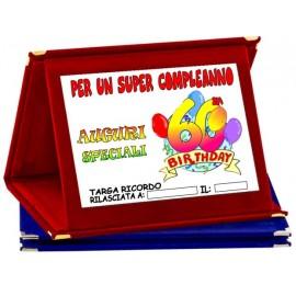 TARGA METALLO 60 ANNI COMPLEANNO AUGURI HAPPY BIRTHDAY