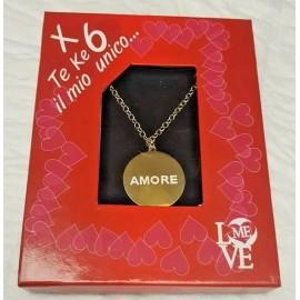 Collana con Medaglione dorato Amore  6 Unica San Valentino  in Scatola CM 80