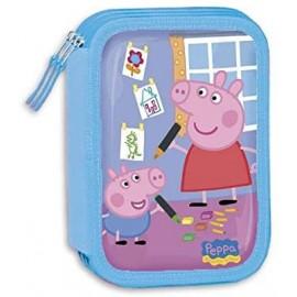 ASTUCCIO SCUOLA PEPPA PIG DISNEY 3 ZIP/CERNIERE PORTA COLORI BAMBINA