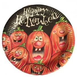Piatti piani festa zucche halloween 23cm grande Conf.6 Pz
