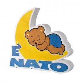ADDOBBO TAVOLA NASCITA E' NATO/A. ORSETTO CHE DORME SULLA LUNA