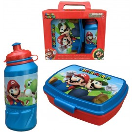 Set Super Mario Videogioco Luigi Yoshi Toad Peach Borraccia Sport + PORTAMERENDA in Confezione