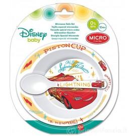 Blister Set Pappa con Piatto e Cucchiaino di Cars Saetta McQueen Disney micronde