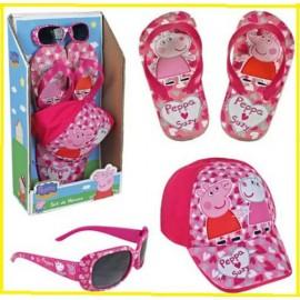 Peppa Pig -set Spiaggia  Piscina Cappellino occhiali da sole infradito mare