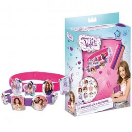 Set 2 Braccialetti con 18 Accessori da Applicare Disney Violetta