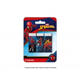 Marvel Spiderman set 1x3 Gomme bianche per cancellare in blister