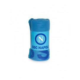 Plaid-Coperta/Copriletto in pile con loghi del calcio SSC Napoli, misura grande, 130x160 cm