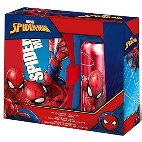 Marvel  Borraccia Alluminio + Box Porta Merenda Spiderman Uomo Ragno
