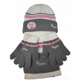 Set cappello sciarpa e guanti Peppa Pig Disney autunno/inverno di idea regalo Bambini