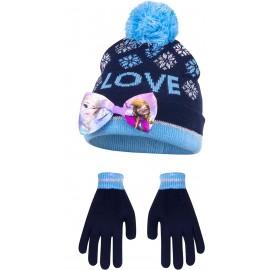 SET 2PZ DISNEY CAPPELLO CAPPELLINO GUANTI Frozen – La regina di ghiaccio – Berretto invernale + guanti Anna & ELSA (blu, 54)