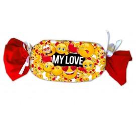 Cuscino caramella Smile raso 35x25 My Love Emoticon