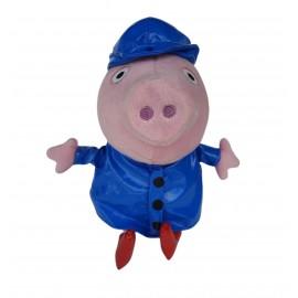 Pupazzo Peppa Pig con Impermeabile Blu 30 cm Peluche